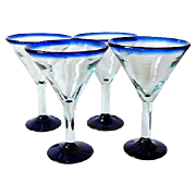 4 Large Mexican Mouth-Blown Martini / Margarita Glasses Cobalt Blue Rim & Bottom