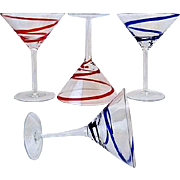 SALE 4 Martini Glasses in Swirline-Cobalt by Pier 1 Red & Blue