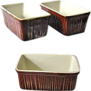 SALE 3 Vintage Chefsware H. F. Coors Brown Mini Loaf Baking Dishes #254