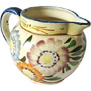 Colorful Floral Design Yellowware Pottery Creamer Pitcher Made in Japan 1940s