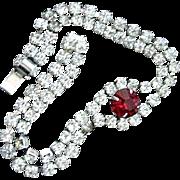 Mid-Century Sparkling Rhinestone & Faux Ruby Bracelet