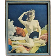 SALE Joan 1930s Framed Nude Pin-Up Colorized Photo Print