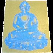 1960s Pop Art Blue on Gold Buddha Textile Wall Art