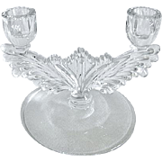 Tiffin Depression Glass Winged  Double Candlestick Candle Holder / Candelabra