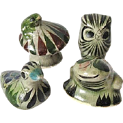 Set of Four Tonala Mexico Pottery Miniatures Frog Duck Owl & Toad on Mushroom