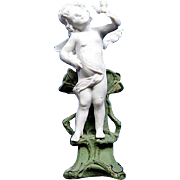 Antique German Gebruder Knoch Cupid /Angel Bisque Figurine Statue Bud Vase GK 3932
