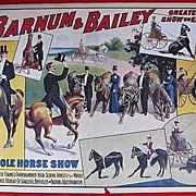 Barnum & Bailey Horse Show Circus Poster a 50's replica of the 1906 Strobridge Company ...