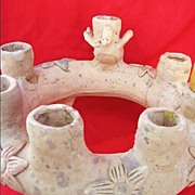 Oaxaca Mexico Signed Dolores Porras Pottery Candle Holder / Candelabra