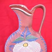 SALE Floral Design Opaque Mexican Pitcher from Tonala circa 1940