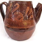 Vintage Brown Mexican Slip Glaze Pitcher Swan Design