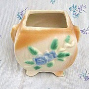 Vintage Morton Pottery Jardiniere or Planter Blue Floral Pattern
