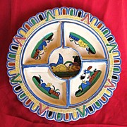 SALE Tlaquepaque Mexico Aldana Pottery Chip and Dip Set circa 1930