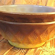 Two Fire-King Kimberly Gold & Brown Cereal Bowls
