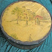 Vintage Large Round Folk Art Pantry Cheese Box