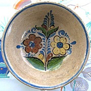 Colorful Vintage Mexican Pottery Bowl from Tlaquepaque