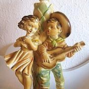 SALE Chalkware Lamp Singing Cowboy Vaquero Serenading Sweetheart Italian G. Ruggeri