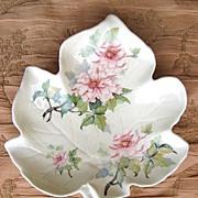 Kernewek Goonhavern Ceramic Dish Tray Leaf Shape Pink Roses