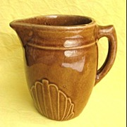 Vintage Brown Monmouth Western Stoneware Co. Pottery Milk Pitcher