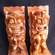 SOLD Vintage Tiki Carved  Monkey Pod Wooden Bookends from Hawaii