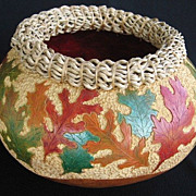 Leaf Design Gourd Art Vase / Bowl by Cheryl Burns