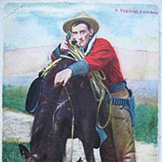 Early 1900s Postcard of a Typical Cowboy with Horse and Gun