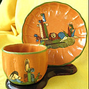 Vintage Tlaquepaque Mexican Pottery Cup and Saucer