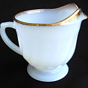 Anchor Hocking Fire-King White Golden Shell Creamer 22k Gold Trim