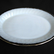 Anchor Hocking Fire-King White Golden Shell Platter 22k Gold Trim