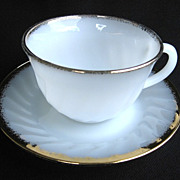 Anchor Hocking Fire-King White Golden Shell Cup and Saucer Set 22k Gold Trim