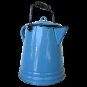Large Vintage Blue Enamel Cowboy Coffee Pot with Wood Handle 6 qt