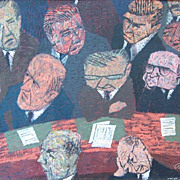 "SOLD Paul Arlt 1950s Original Mid-Century Modern Art Painting ""U.N. Political Committee"""