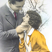 1930s Romantic French Real Photo Color-Tinted Postcard P.C. Studio Paris RPPC