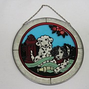 Dalmatian Leaded Glass Wall or Window Plaque