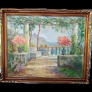 LISTED Woman painter Caroline Van Hook BEAN oil of seaside flowered terrace