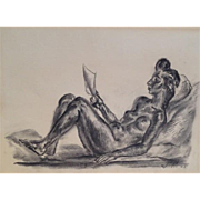 John SLOAN 1945 charcoal of Nude Reclining Reading Book