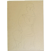 SALE Marguerite ZORACH  pencil drawing of a GRAND DAME signed ~ large