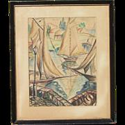 Emil GANSO Modernist German American artist   Large watercolor signed