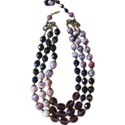 JONNE- Absolutely Spectacular Signed Vintage Necklace - Purples