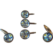 Victorian Unusual  Glass Cuff Links and Button Covers