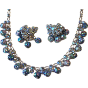 Unusual Vintage Iridescent  Glass Bead and Rhinestone Demi