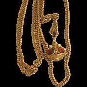 Unsigned Goldette Vintage Victorian Revival Fob Necklace
