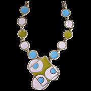 ACCESSOCRAFT- Rare op- art pastel runway necklace