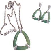 Givenchy- Huge Famous Faux Jade Pendant Necklace and Earrings