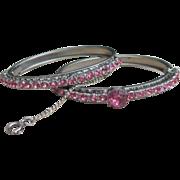 Pink rhinestone vintage duo bracelet set
