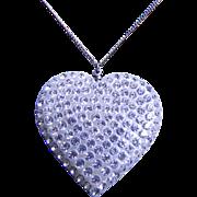 Vintage Celluloid Rhinestone Heart Necklace
