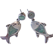 Sterling Unique Vintage Turquoise Inlay Pierced Earrings