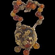 Apple Juice Bakelite Vintage Brooch and Necklace