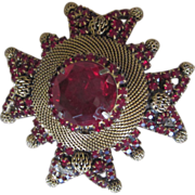 Large Fabulous Maltese Cross Vintage Brooch and Pendant