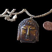 Vintage Unique Carved Pendant Necklace