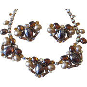 Unusual  Dramatic Rhinestone Vintage Necklace and Earrings
